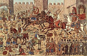Christianity in the 15th century - Painting by the Greek folk painter Theophilos Hatzimihail showing the battle inside the city, Constantine is visible on a white horse