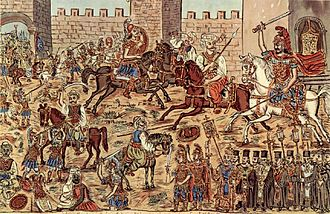 Fall of Constantinople - Painting by the Greek folk painter Theophilos Hatzimihail showing the battle inside the city, Constantine is visible on a white horse