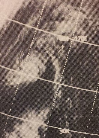 1970 Pacific typhoon season - Image: Therese Aug 319700322z ITOS1