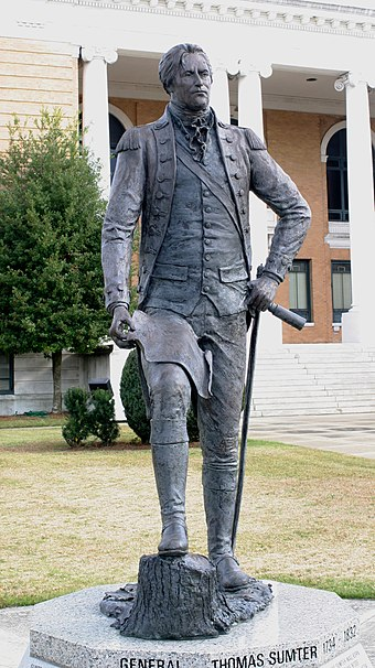 Statue of Thomas Sumter on the courthouse lawn in Sumter, South Carolina Thomas sumter 1352.JPG