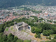 Aerial view of the Castles of Bellinzona from Sasso Corbaro