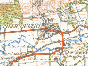 Tillicoultry - A map of Tillicoultry from 1945