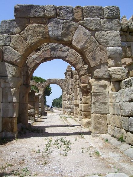 The monumental propylaeum gate from the inside
