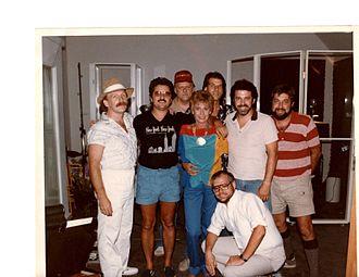 Tom Robb - Tom Robb (left) with (left to right) Larry Byrum, Barry Beckett, Tammy Wynette, Steve Buckingham, Eddie Bayers, Gene Eichelberger, and Steve Gibson (kneeling).