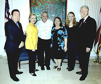 Tony Santiago - (L-R) President of the Puerto Rican Senate Kenneth McClintock, U.S. Secretary of State Hillary Clinton, Antonio, Milagros, Chelsea Clinton and former President of the U.S. Bill Clinton