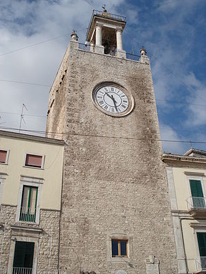 Terlizzi - The Norman medieval tower, built in 1075, in the principal square of the city, Piazza Cavour.