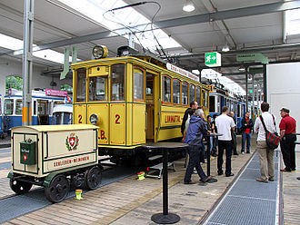 Limmattal tramway - The preserved car 2 in the Zürich tram museum, with the postal trailer.