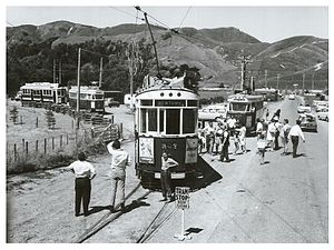 Wellington Tramway Museum - Tram car 207 at the museum in 1967