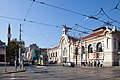 Trams in Sofia in front of Central Market Hall 2012 PD 029.jpg