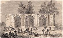 Arco dei Tre Portoni in una xilografia del 1860 raffigurante un gruppo di garibaldini a riposo