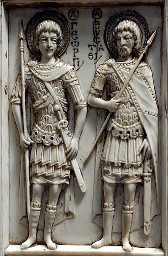 Saint Eustace - In an unusually early image, Eustace accompanies Saint George on a 10th-century Byzantine ivory Harbaville Triptych (Louvre Museum).