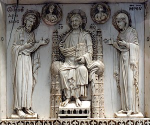 Harbaville Triptych - Middle leaf, top panel: Deesis, Christ, Mary and John the Baptist