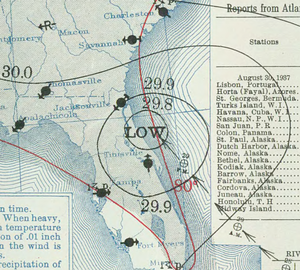 1937 Atlantic hurricane season - Image: Tropical Storm Three analysis 30 Aug 1937