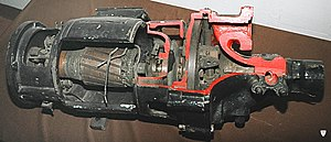 Turbo generator - RP4 turbogenerator, a 500W/24V generator for a steam locomotive; dynamo on the left, turbine on the right