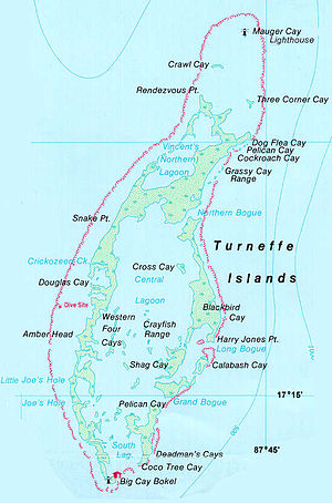 Turneffe Atoll - Nautical map of Turneffe Islands