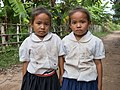 Twin sisters wearing school uniform in Si Phan Don.jpg