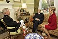 U.S. Marine Corps Gen. James F. Amos, left, the commandant of the Marine Corps, and his wife, Bonnie, talk with retired U.S. Sen. John Warner, a former secretary of the Navy and the Evening Parade guest 130503-M-LU710-012.jpg