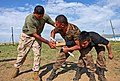 U.S. Marine Corps Sgt. Patrick Garza, left, a nonlethal weapons instructor with the III Law Enforcement Battalion, 3rd Marine Expeditionary Force (MEF) Headquarters Group, III MEF, rehearses baton techniques 130819-M-MG222-006.jpg