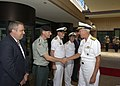 U.S. Navy Adm. Samuel J. Locklear, right, the commander of U.S. Pacific Command, welcomes a Norwegian delegation during Rim of the Pacific (RIMPAC) 2014 at Camp H.M. Smith, Hawaii, June 30, 2014 140630-N-DX698-052.jpg