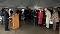 U.S. Navy Lt. Cmdr. Daniel Link, at lectern, a chaplain, delivers the invocation for the 71st anniversary of the attacks on Pearl Harbor, Hawaii, at the Naval Air Station Whidbey Island marina in Oak Harbor 121207-N-FR671-42.jpg