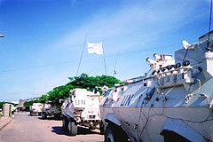 White armored vehicles