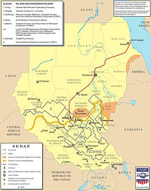 Greater Nile Oil Pipeline - The route taken by the Greater Nile Oil Pipeline is shown in this USAID map of 2001. State borders have changed since 2001.