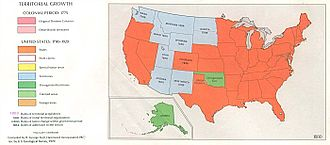 History of the United States (1865–1918) - Map of the United States, 1870–80. Orange indicates statehood, light blue territories, and green unorganized territories