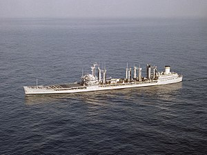 USNS Navasota (T-AO-106) underway in the Pacific Ocean on 2 March 1987 (6418814).jpg