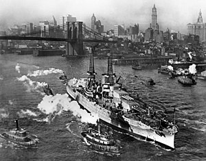 USS Arizona (BB-39) - Arizona on the East River, New York City (1916)