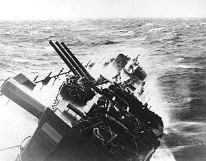 USS Santa Fe (CL-60) - Santa Fe during Typhoon Cobra, December 1944