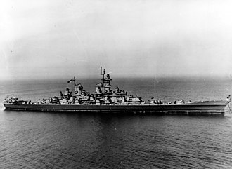 USS Wisconsin (BB-64) - Wisconsin during her initial sea trials in mid 1944