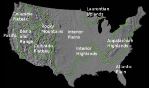 Geology of the United States - Shaded relief map of the United States, showing 10 of the geological provinces discussed in this article