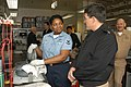 US Navy 030326-N-9760B-001 Aviation Electrician's Mate 3rd Class Keisha Lewis from Chicago, Ill., speaks with the Master Chief Petty Officer of the Navy (MCPON) Terry Scott.jpg