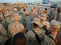 US Navy 051012-N-0962S-118 Master Chief Petty Officer of the Navy (MCPON) Terry Scott and Sergeant Major of the Marine Corps John Estrada speak to a group of Sailors and Marines.jpg