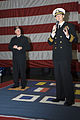 US Navy 070419-N-8591H-017 USS Kitty Hawk (CV 63) Commanding Officer, Capt. Ed McNamee, introduces Adm. Gary Roughead, commander, U.S. Pacific Fleet, to more than 3,000 Sailors during a town hall meeting in the hangar bay.jpg