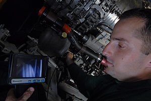 Borescope - A video borescope used to inspect the jet engine of an F/A-18E fighter