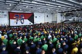 US Navy 090913-N-9818V-150 Sailors gather in the hangar bay of the aircraft carrier USS Ronald Reagan (CVN 76) for an all-hands call with Master Chief Petty Officer of the Navy (MCPON) Rick West.jpg