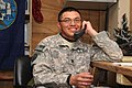 US Navy 091224-F-7418E-007 Petty Officer 3rd Class Luis Tun-Ake receives a surprise telephone call from President Barack Obama at Forward Operating Base Sharana, Afghanistan.jpg