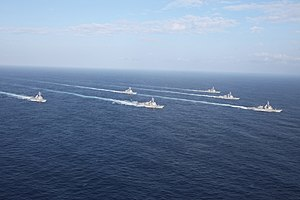 US Navy 120129-N-ZZ999-581 Six of the seven ships assigned to Destroyer Squadron (DESRON) 15 transit in formation during Multi-Sail 2012.jpg