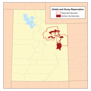 Map of Indian reservation in Utah