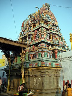 The three tiered Raja Gopuram of Ulagalantha Perumal Temple