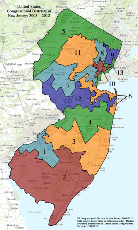 New Jerseys Congressional Districts Wikipedia - New jersey on us map
