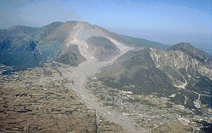 Mount Unzen - Mt. Unzen, showing extensive pyroclastic flow and lahar deposits