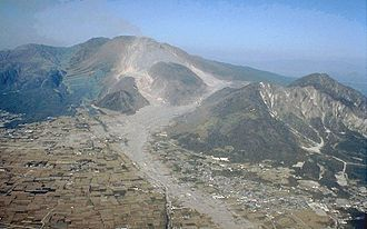 1792 Unzen earthquake and tsunami - Image: Unzen pyroclastic and lahar deposits