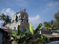 The shine of temple seen with the temple tree, Kadhali Tree(red banana)