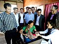 V. Zirsanga inspecting the health camp, at the Public Information Campaign, at Bungtlang South Village, Lawngtlai District, Mizoram on November 14, 2014.jpg