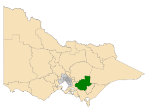 Electoral district of Narracan - Location of Narracan (dark green) in Victoria