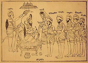 English: A depiction of Guru Gobind Singh init...