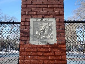 Bay Ridge, Brooklyn - Bay Ridge's Norwegian heritage lives on today in the Valhalla Courts. While the Norse god Odin ruled the mythic hall from which the courts take their name, it is mostly local teenagers who rule these basketball playing areas.