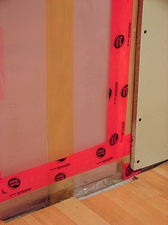 Vapor barrier - 6-mil polyethylene plastic sheet as vapour barrier between insulation and gypsum board